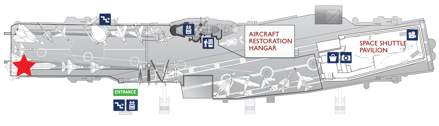 Floor plan of the flight deck. A red star marks the center of the Lockheed A-12.