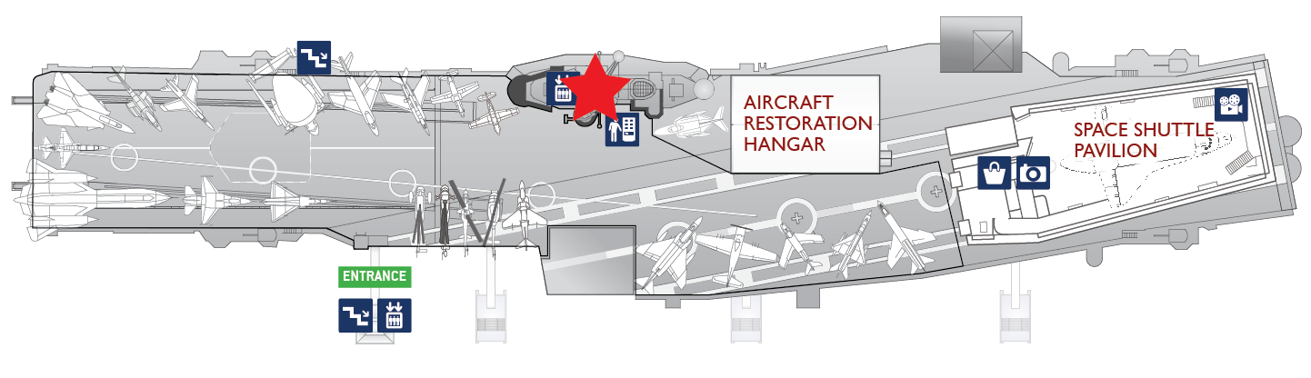 Floor plan of the flight deck. A red star marks the center of the Navigation Bridge in the ship's Island.