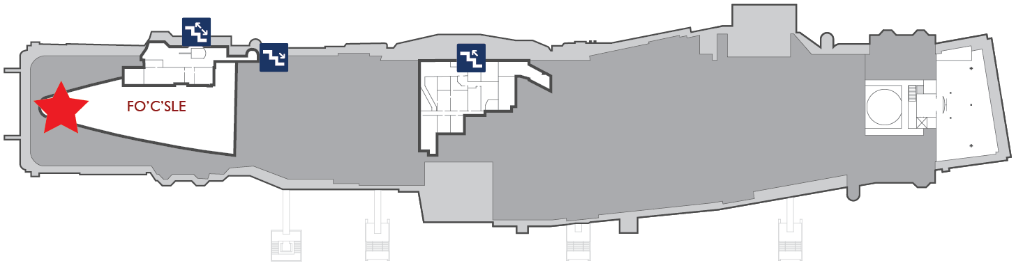 Floor plan of the gallery deck. A red star marks the center of the Anchor Chain Room in the fo'c'sle.
