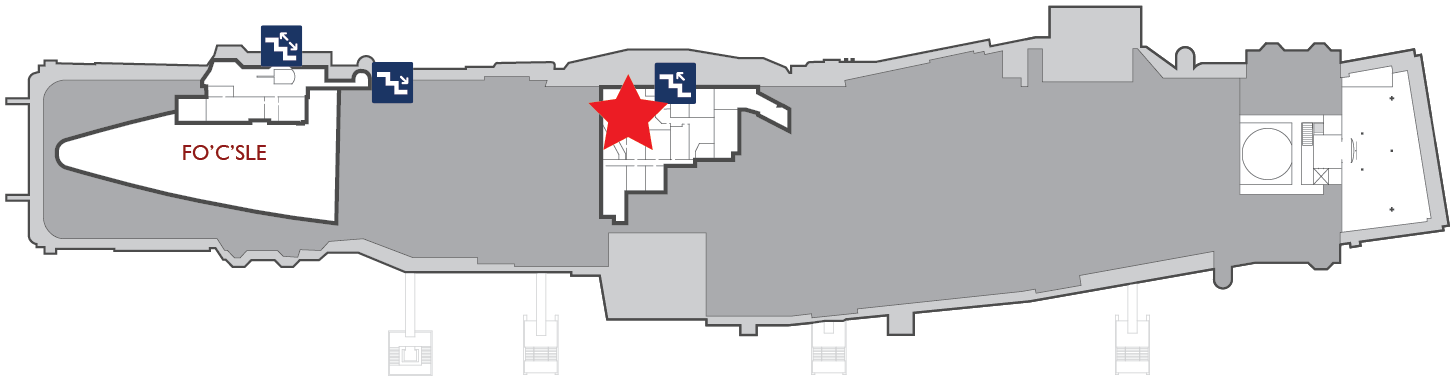 Floor plan of the gallery deck. A red star marks the center of the Combat Information Center (CIC).