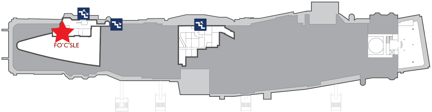 Floor plan of the gallery deck. A red star marks the center of Marine Berthing in the fo'c'sle.