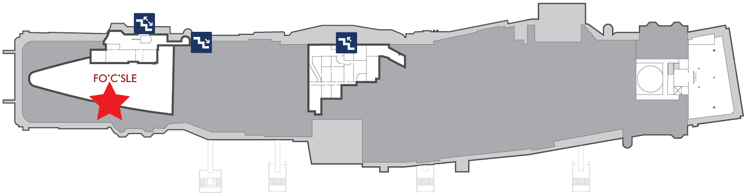 Floor plan of the gallery deck. A red star marks the center of Officer Berthing in the fo'c'sle.
