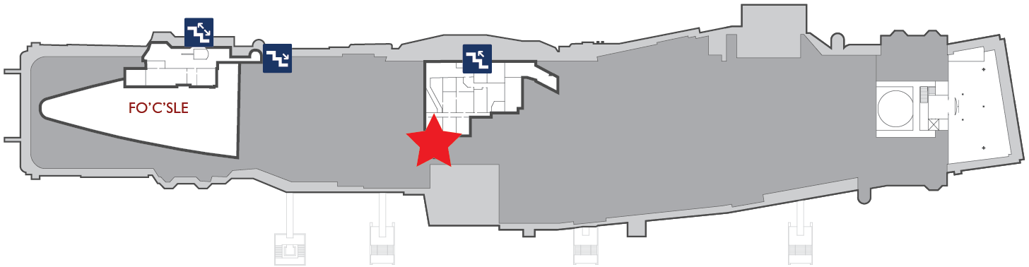 Floor plan of the gallery deck. A red star marks the center of the Ready Room.